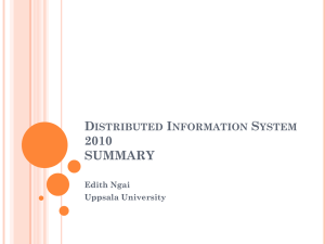 Distributed Information System 2010 SUMMARY