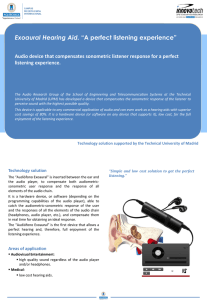 "Exoaural Hearing Aid. ""A perfect listening experience"""