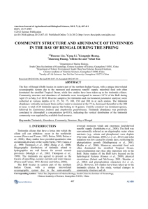 community structure and abundance of tintinnids in the bay of