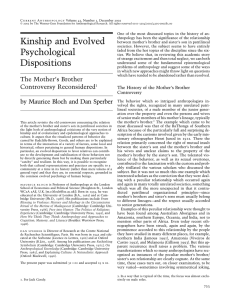 Kinship and Evolved Psychological Dispositions