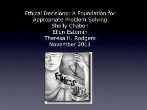 Ethical Decisions: A Foundation for Appropriate Problem