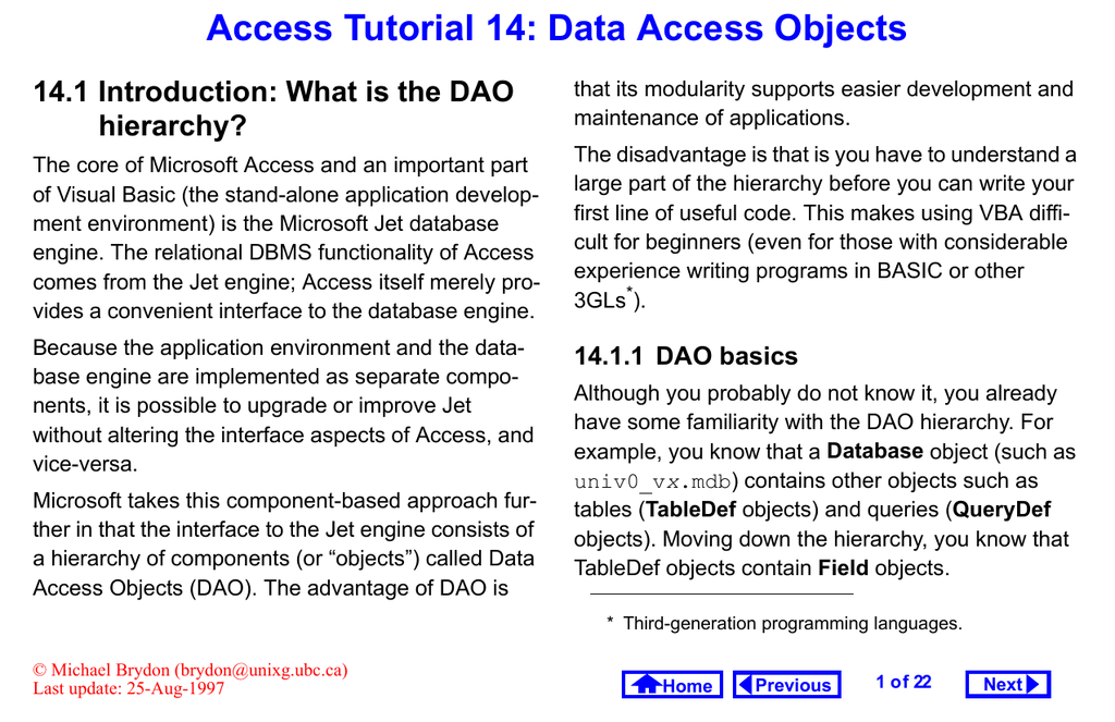 Access Tutorial 14: Data Access Objects