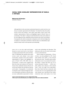 social work scholars` representation of rawls: a critique
