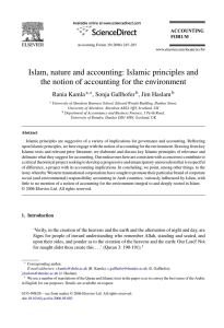 Islam, nature and accounting: Islamic principles and the notion of