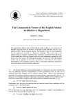 The Grammatical Nature of the English Modal Auxiliaries: a