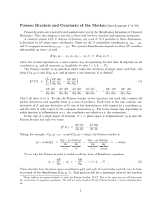 Poisson Brackets and Constants of the Motion (Dana Longcope 1/11