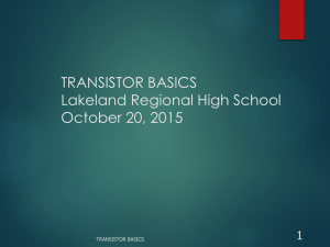 Transistor Basics - Lakeland Regional High School