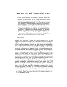 Separation Logic with One Quantified Variable