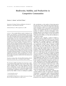 Biodiversity, Stability, and Productivity in Competitive Communities