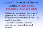 Lecture 2: Overview of the solar system
