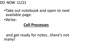 Cell Processes notes 11/21