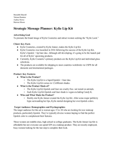 Strategic Message Planner: Kylie Lip Kit