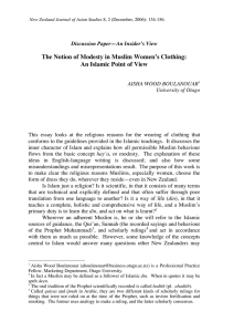 The Notion of Modesty in Muslim Women`s Clothing