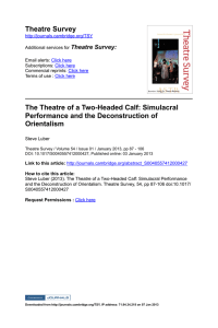 Theatre Survey The Theatre of a TwoHeaded Calf: Simulacral