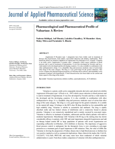 Pharmacological and Pharmaceutical Profile of Valsartan: A Review