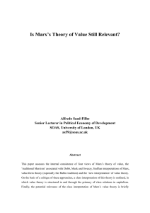 Is Marx`s Theory of Value Still Relevant?