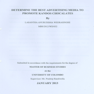 DETERMINE THE BEST ADVERTISING MEDIA TO PROMOTE