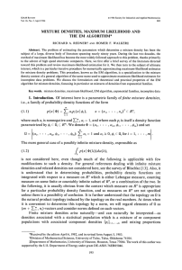 mixture densities, maximum likelihood, EM algorithm