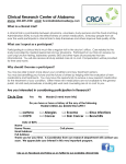 CRCA Interest Form - Clinical Research Center of Alabama