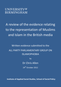 A review of the evidence relating to the representation of Muslims