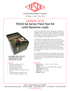 TESCO GA Series Field Test Kit (with Resistive Load)