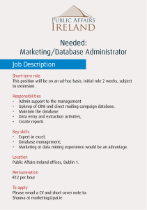 Needed: Marketing/Database Administrator