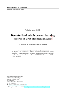 Decentralized reinforcement learning control of a robotic manipulator