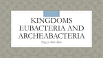 Kingdoms Eubacteria and Archeabacteria