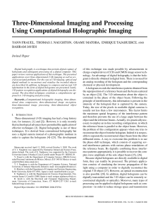 Three-Dimensional Imaging and Processing Using Computational