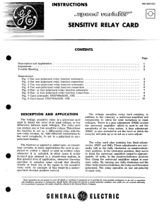 Speed Variator Sensitive Relay Card Instructions