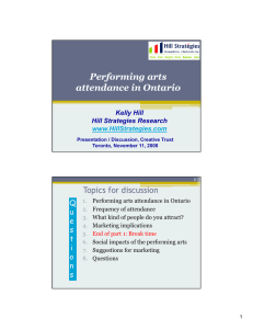 Performing arts Performing arts attendance in Ontario