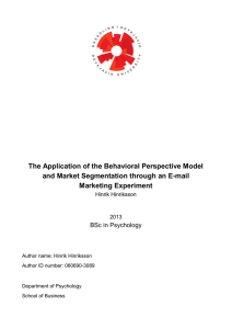 The Application of the Behavioral Perspective Model
