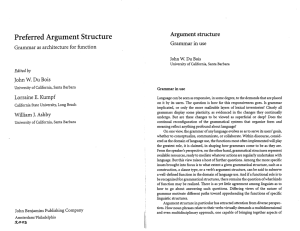 Argument Structure: Grammar in Use - UCSB Linguistics