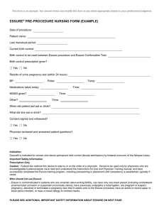 Pre-procedure Nursing Form (Example)