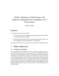 Timbre, Harmony, Orchestration, and Analysis, and Rautavaara`s