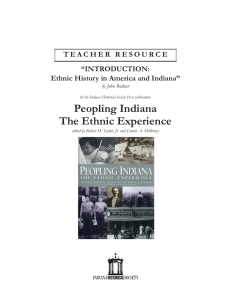 Introduction to Ethnic History in America and Indiana