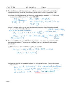 Quiz 7.2D AP Statistics Name