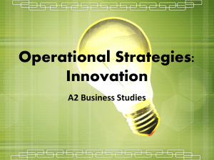 Operational Strategies: Innovation