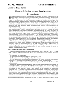 W. M. White Geochemistry Chapter 9: Stable Isotopes Chapter 9