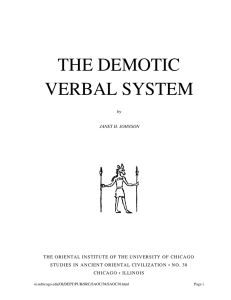 the demotic verbal system - Oriental Institute