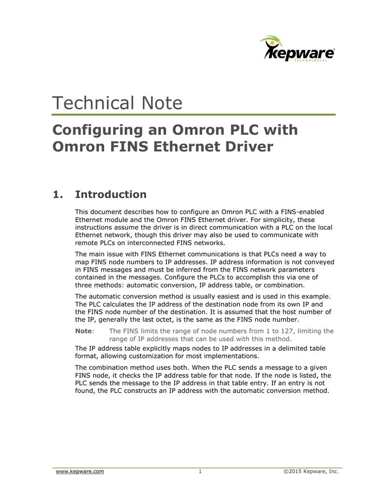 Configuring an Omron PLC with Kepware Omron FINS Ethernet Driver
