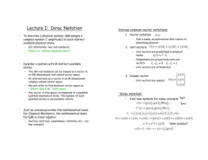 Lecture I: Dirac Notation