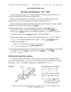 Lecture Notes 18.5: Lorentz Transformation of EM Fields, the EM