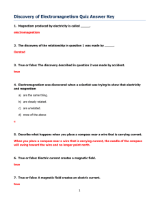 Discovery of Electromagnetism Quiz Answer Key