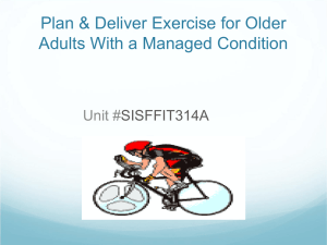 Plan and Deliver Exercise to Older Adults