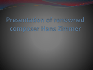 Presentation of renowned composer Hanz Zimmer