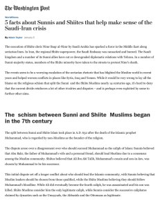 The schism between Sunni and Shiite Muslims began in the 7th