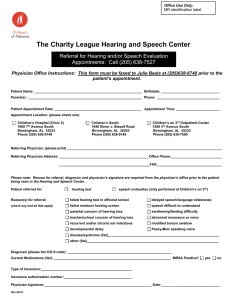 The Charity League Hearing and Speech Center for Children