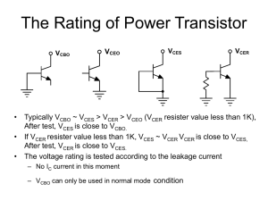 The Rating of Power Transistor