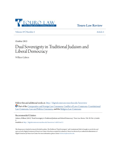 Dual Sovereignty in Traditional Judaism and Liberal Democracy